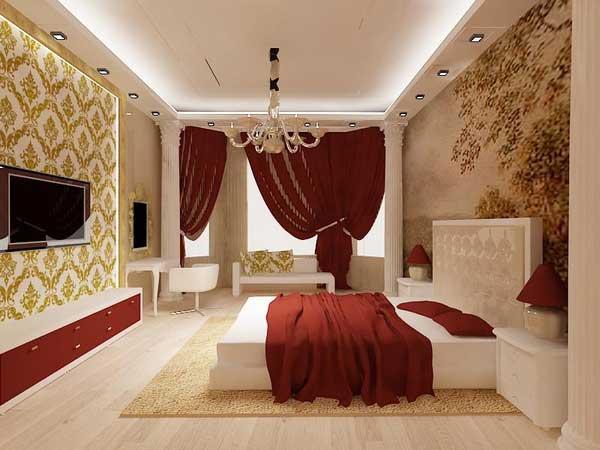 Дизайн спальни с угловой гардеробной
