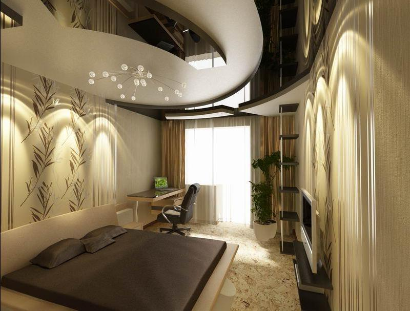 Дизайн потолка с обоями фото