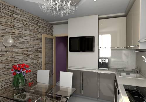 Дизайн кухни в доме серии п 44 с коробом фото