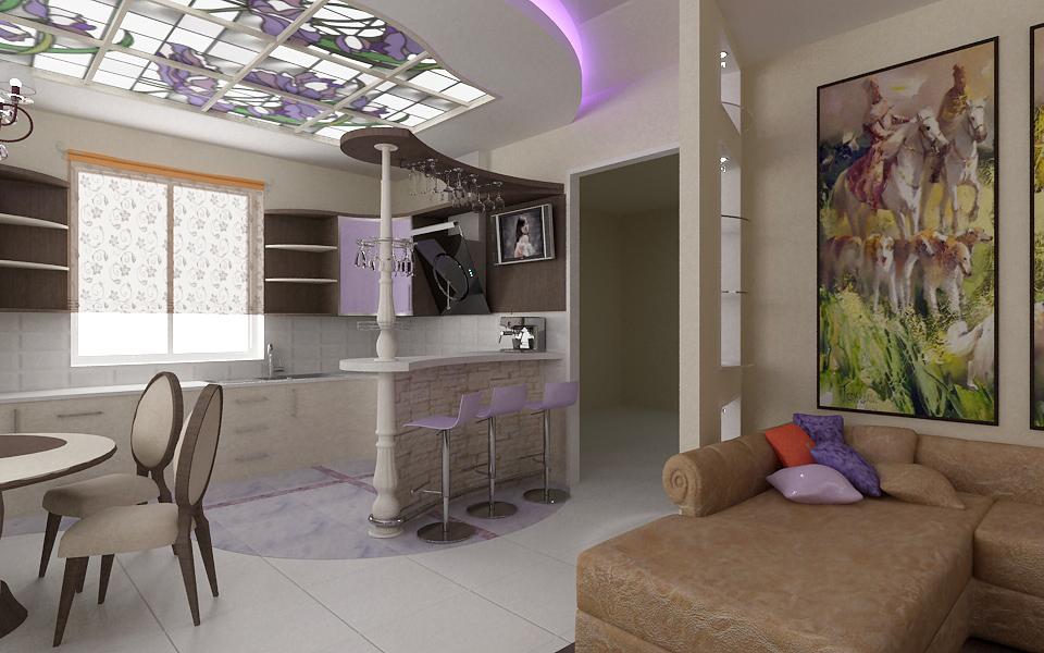 Дизайн интерьера совмещенной кухни гостинной