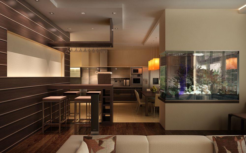 Дизайн гостиной с аквариумом фото