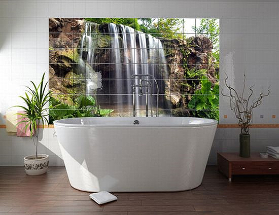 Дизайн ванны с фотообоями
